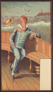 Sailor sitting on a ship in the ocean, lighthouse in the background.