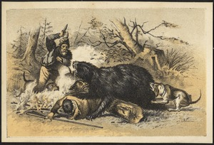 Man with dagger and dogs hunting a bear which is attacking another hunter.