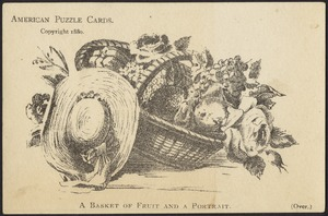 American puzzle cards. A basket of fruit and a portrait.