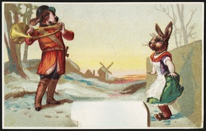 Woman with a rabbit's head listening to a man with a dog's head playing a horn.