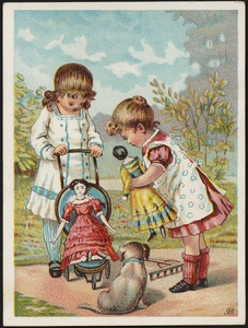Two girls and a dog, one holding a doll, looking at another doll in a stroller.