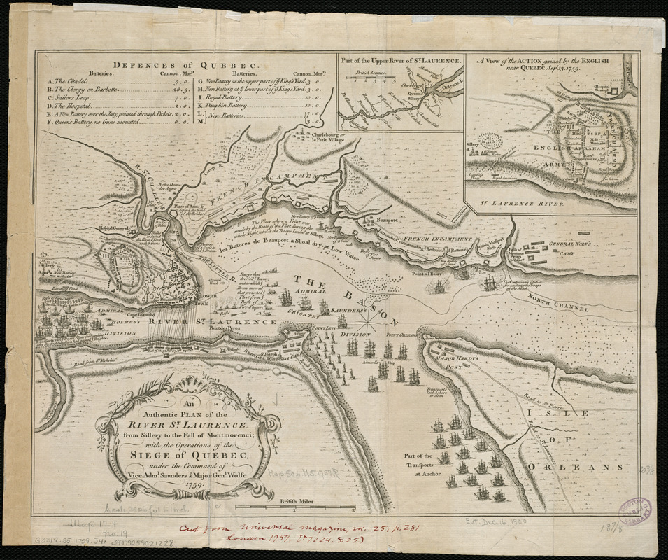 An authentic plan of the River St. Laurence, from Sillery to the Fall of Montmorenci