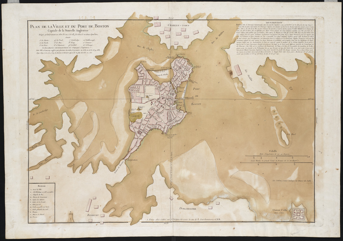 Plan de la ville et du port de Boston