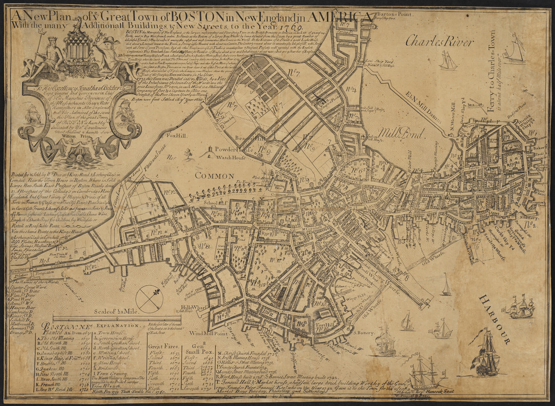 A new plan of ye great town of Boston in New England in America, with the many additionall [sic] buildings, & new streets, to the year, 1769
