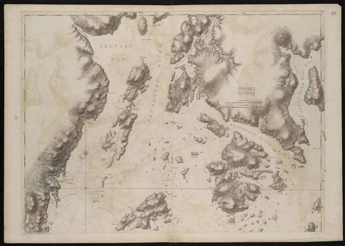 Coast of Maine showing Blue Hill Bay, Penobscot Bay, Belfast Bay, Islesboro Island, Deer Island, and other islands