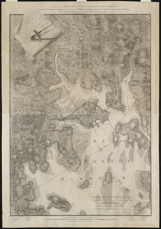 A plan of Boston in New England with its environs