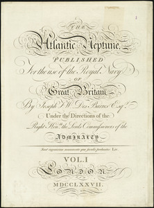 The Atlantic Neptune [Title page for volume one]