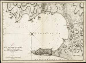 Plan of the bay, rock and town of Gibraltar, from an actual survey by an officer who was at Gibraltar from 1769 to 1775