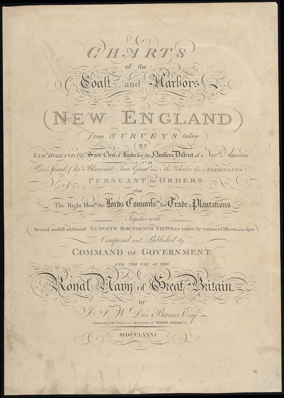 Charts of the coast and harbours of New England