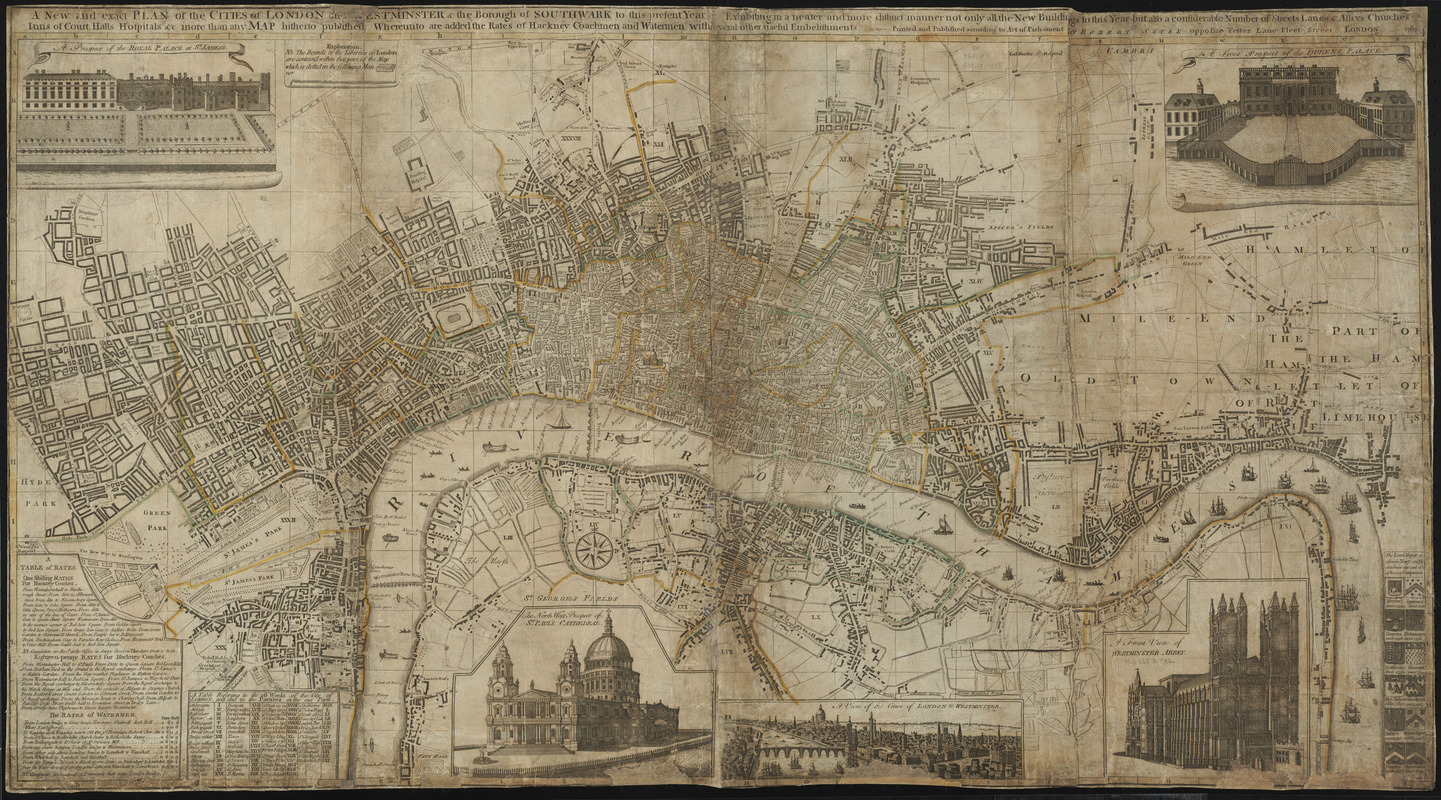 A new and exact plan of the cities of London and Westminster & the borough of Southwark to this present year, exhibiting in a neater and more distinct manner not only all the new buildings to this year but also a considerable number of streets lanes and alleys churches inns of court, halls hospitals &c. more than any map hitherto published