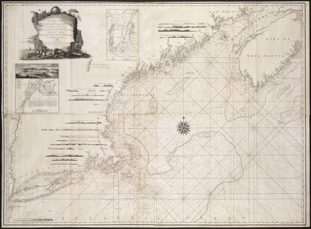 A new and correct chart of the coast of New England and New York with the adjacent parts of Nova Scotia and New Brunswick from Cape Sable to the entrance of Hudsons or North River