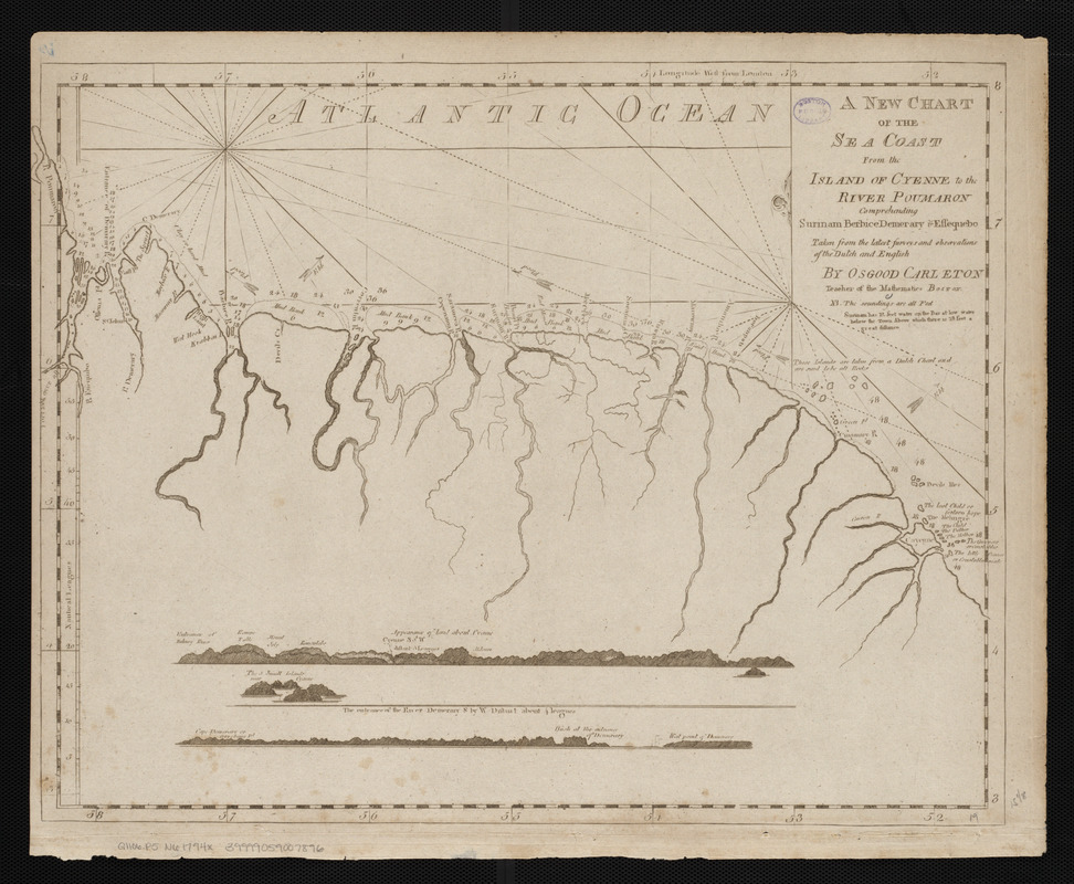 A new chart of the sea coast from the island of Cyenne to the river Poumaron comprehending Surinam Berbice Demerary & Essequebo taken from the latest surveys and observations of the Dutch and English