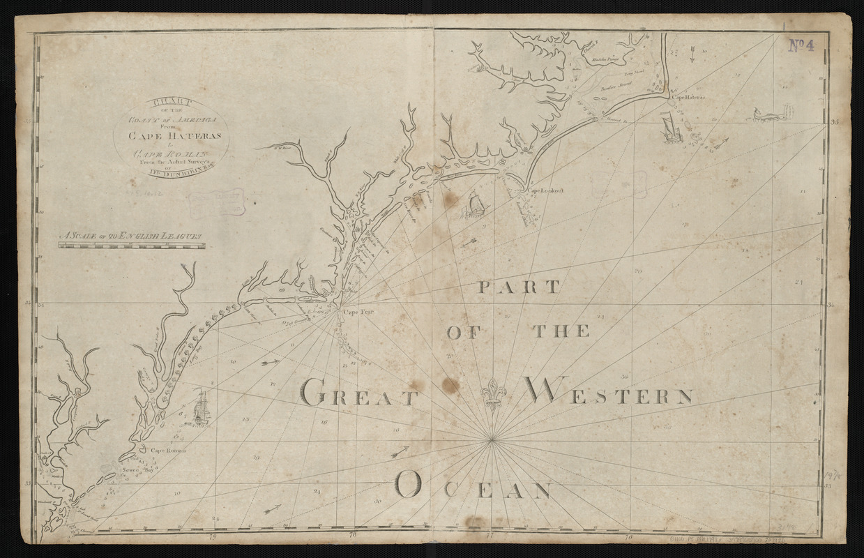 Chart of the coast of America from Cape Hateras to Cape Roman