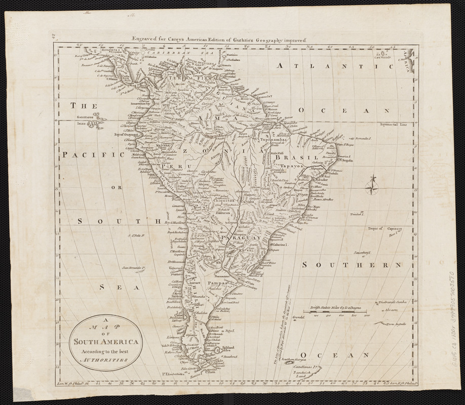 A map of South America according to the best authorities