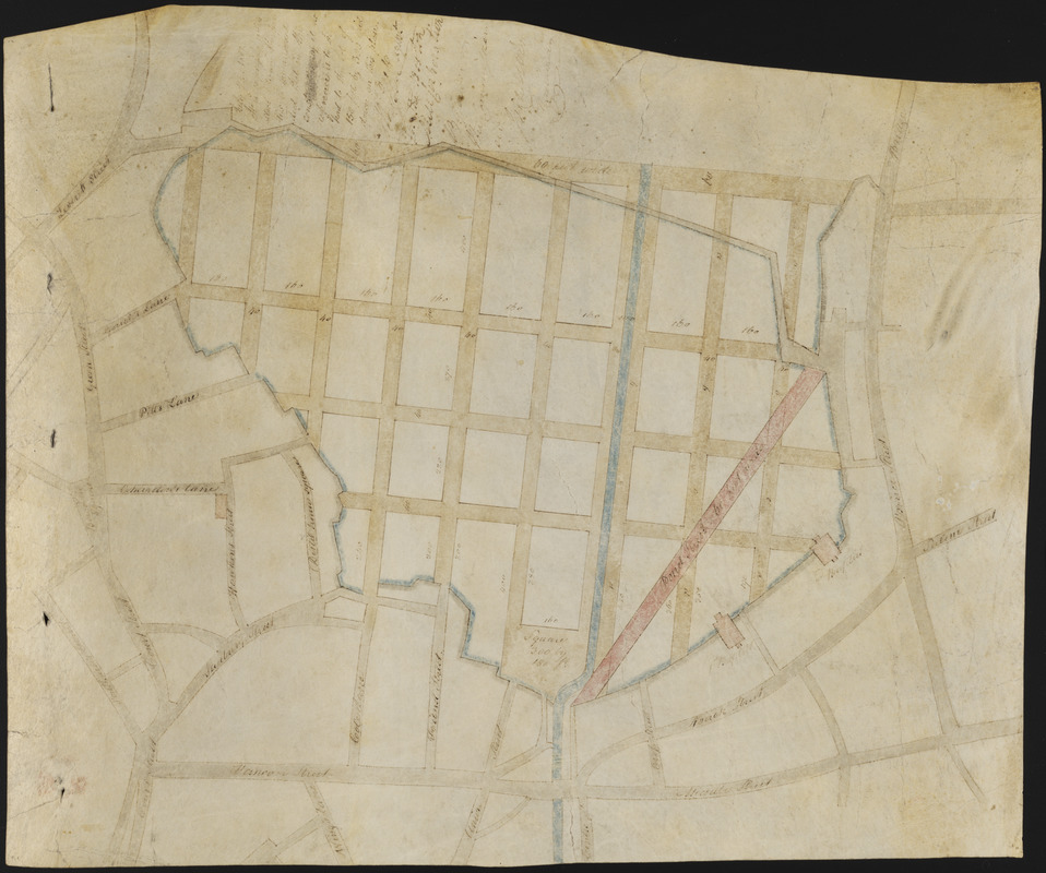 Manuscript plan of the Bulfinch Triangle, Boston, MA