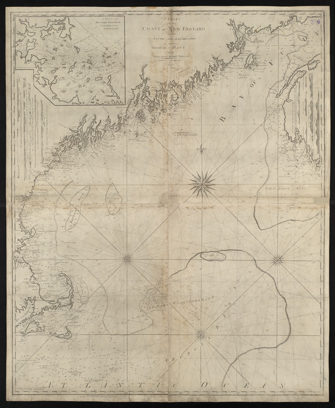 A chart of the coast of New England from the South Shoal to Cape Sable including Georges Bay from Holland & actual surveys