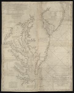 A new and accurate chart of the Bay of Chesapeak including Delaware Bay with all the shoals, channels, islands, entrances, soundings, & sailing marks as far as the navigable part of the rivers Patowmack Patapsco & N. East