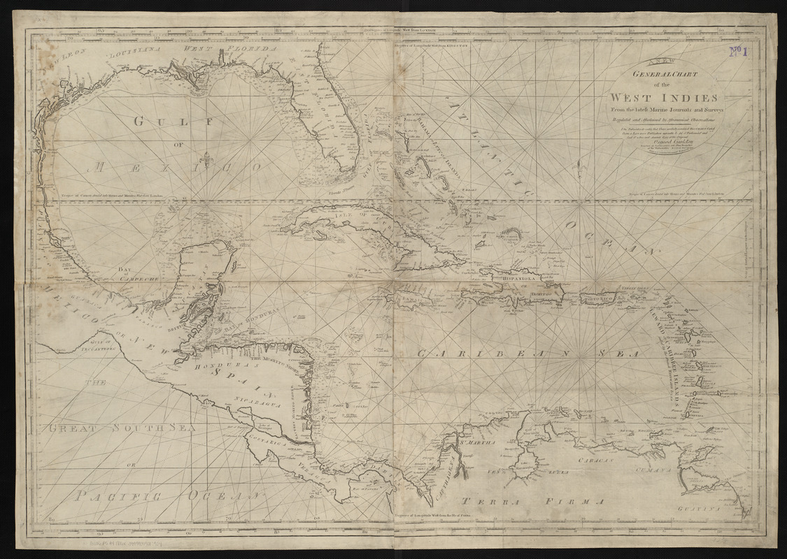 A new general chart of the West Indies from the latest marine journals and surveys regulated and ascertained by astronomical observations
