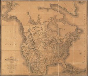Map of North America from 20 to 80 degrees north latitude