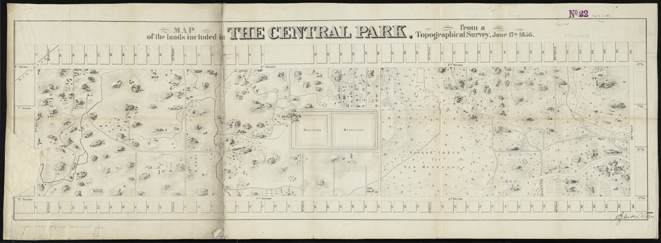 Map of the lands included in the Central Park, from a topographical survey, June 17th, 1856