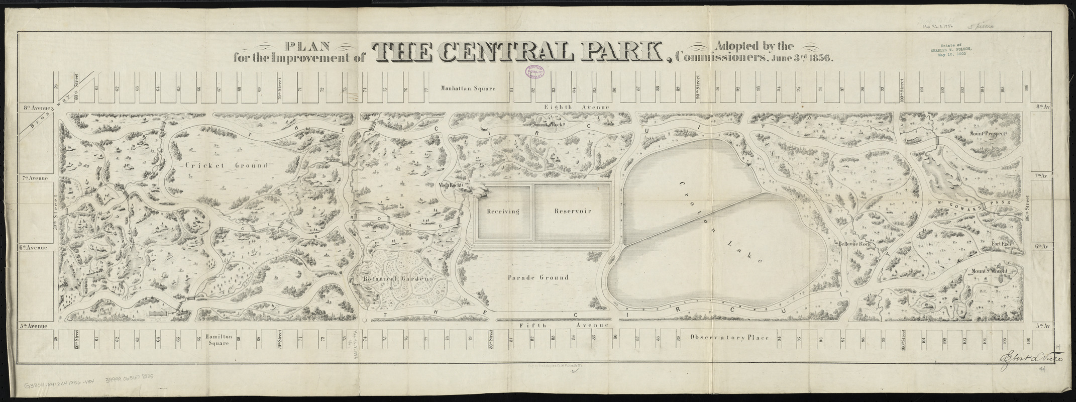 Plan for the improvement of the Central Park, adopted by the Commissioners, June 3rd, 1856