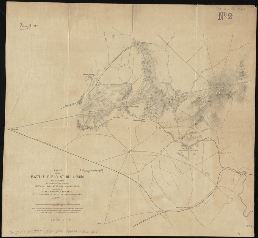 Plan of the battle field at Bull Run, July 21st 1861