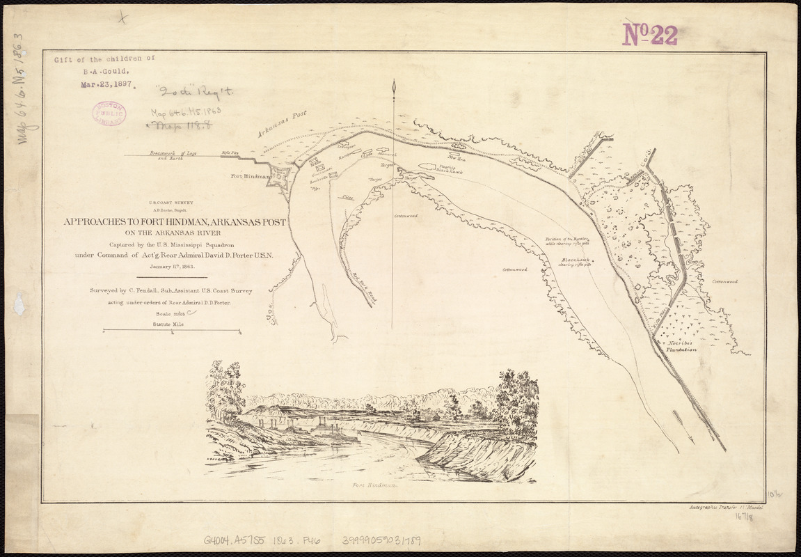 Approaches to Fort Hindman, Arkansas Post, on the Arkansas River ...