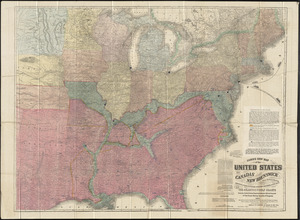 Lloyd's new map of the United States, the Canadas, and New Brunswick, from the latest surveys showing every railroad & station finished to June 1864