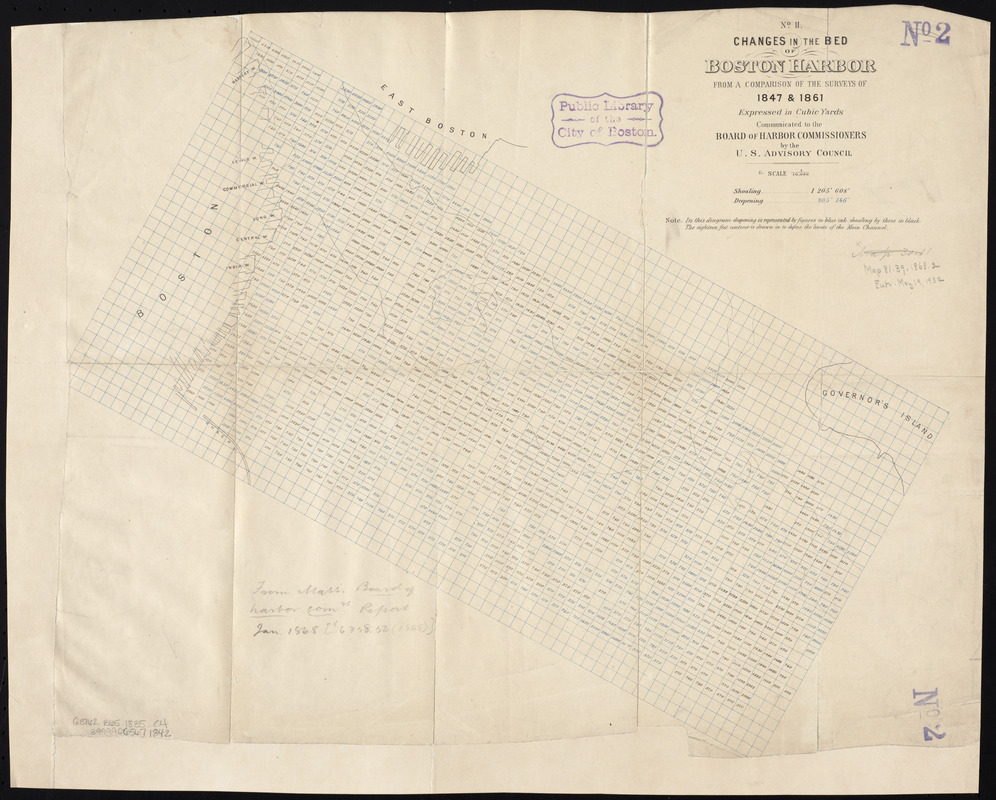 Changes in the bed of Boston Harbor, from a comparison of the surveys of 1835 & 1847