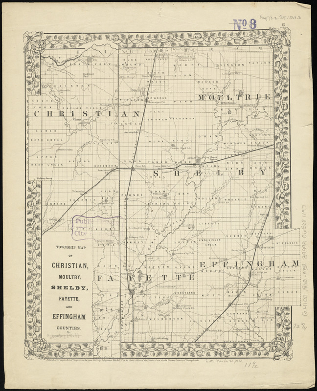 Township map of Christian, Moultry, Shelby, Fayette, and Effingham Counties