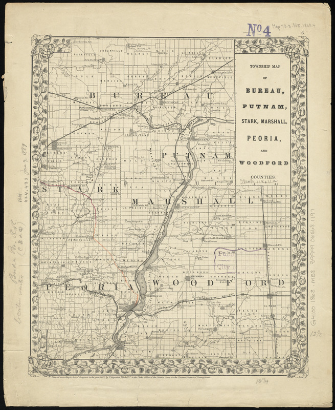 Township map of Bureau, Putnam, Stark, Marshall, Peoria, and Woodford Counties