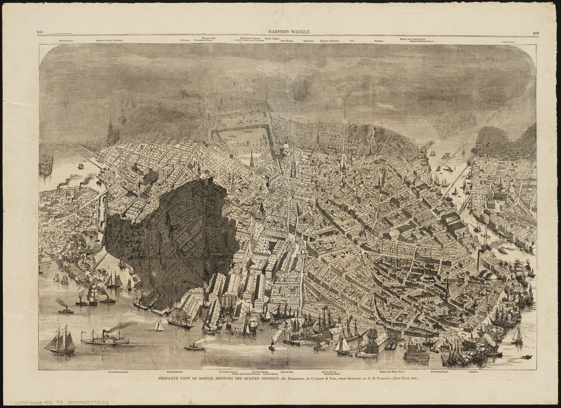 Bird's-eye view of Boston, showing the burned district