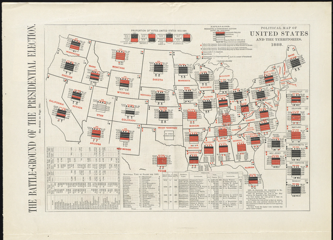 Political Map Of The United States And Territories Norman - 1888 us map