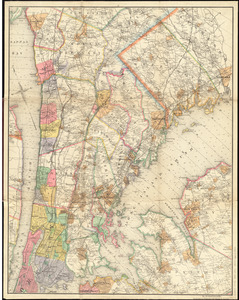 Driving road chart of the country surrounding New York City
