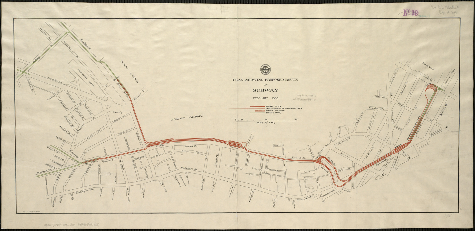 Plan showing proposed route of Subway, February 1895