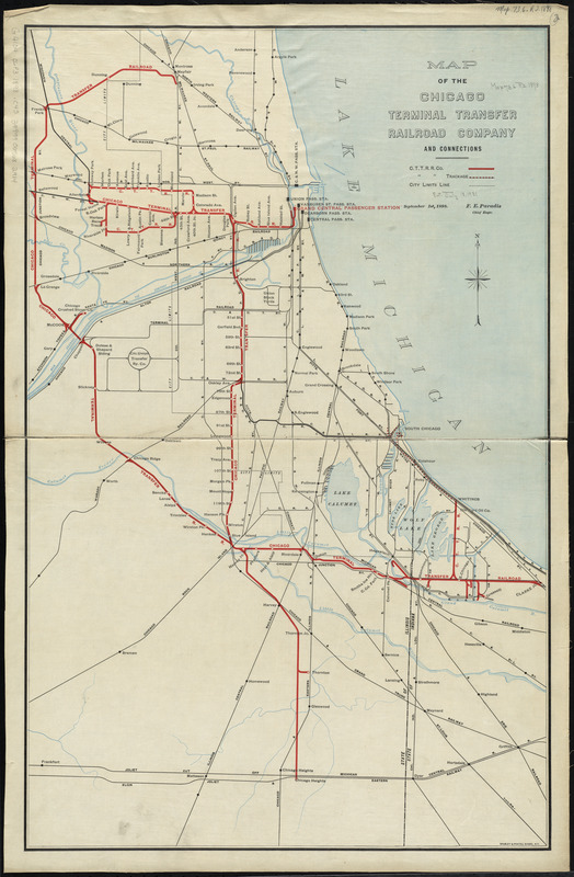 Map of the Chicago Terminal Transfer Railroad Company and connections
