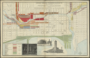 Chicago Terminal Transfer Railroad Co. map showing property of railroads in the business center of Chicago
