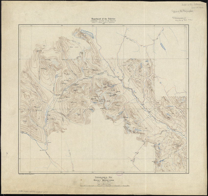 Topographical map of the Rocky Mountains