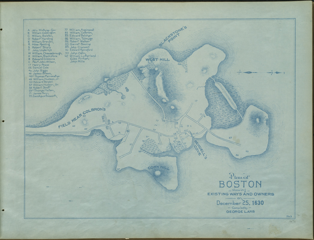 Plan of Boston showing existing ways and owners on December 25, 1630