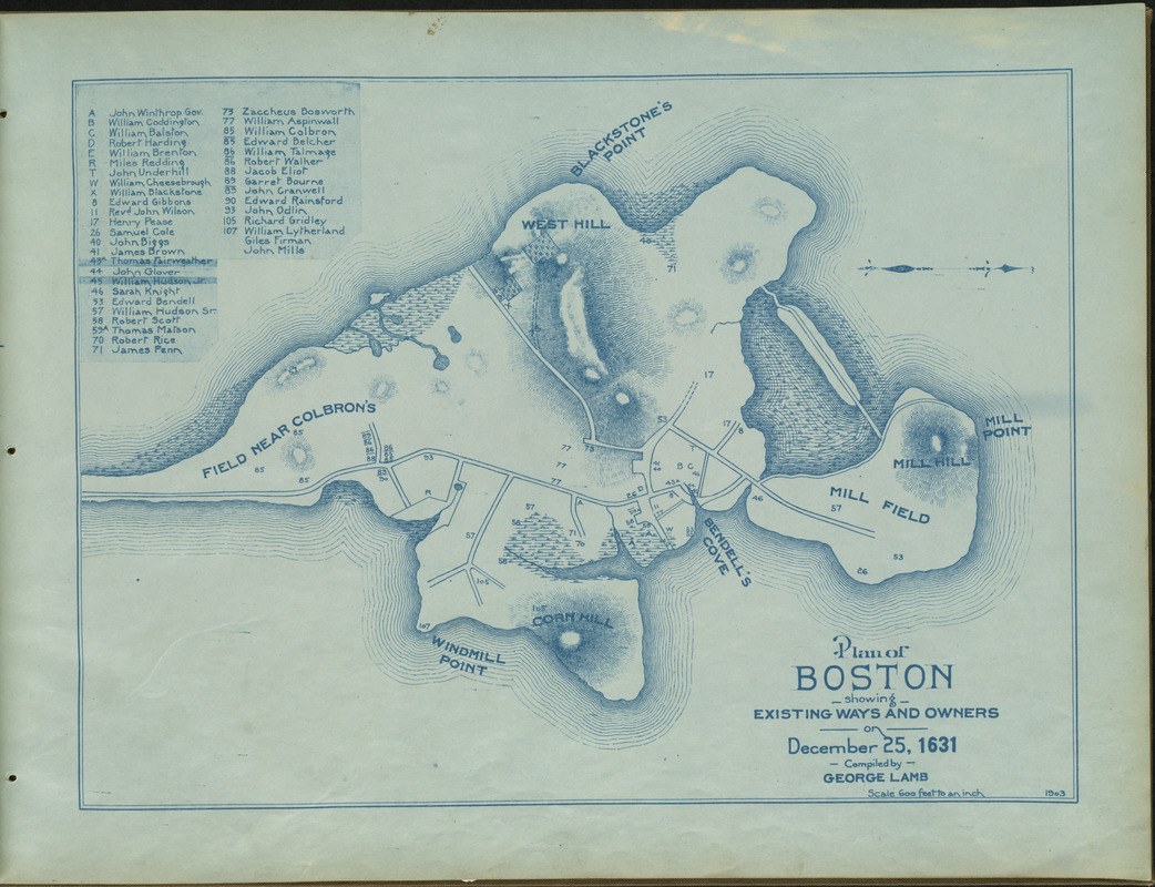 Plan of Boston showing existing ways and owners on December 25, 1631