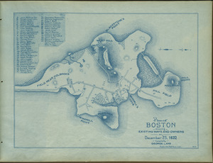 Plan of Boston showing existing ways and owners on December 25, 1632
