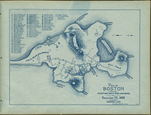 Plan of Boston showing existing ways and owners on December 25, 1633