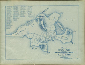 Plan of Boston showing existing ways and owners on December 25, 1634
