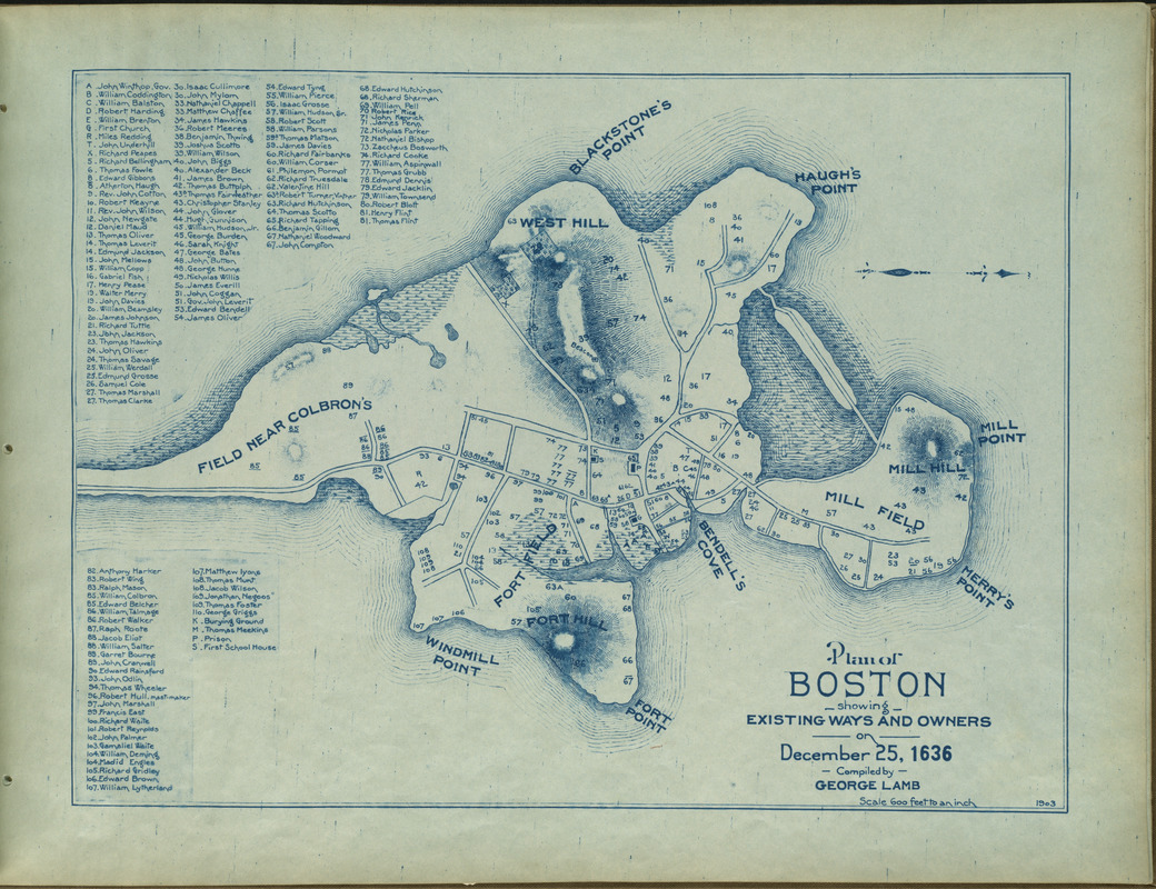 Plan of Boston showing existing ways and owners on December 25, 1636