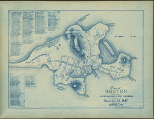 Plan of Boston showing existing ways and owners on December 25, 1637