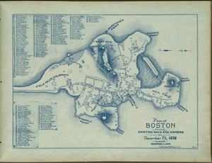 Plan of Boston showing existing ways and owners on December 25, 1638