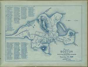 Plan of Boston showing existing ways and owners on December 25, 1639