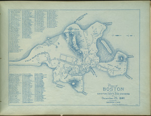 Plan of Boston showing existing ways and owners on December 25, 1641