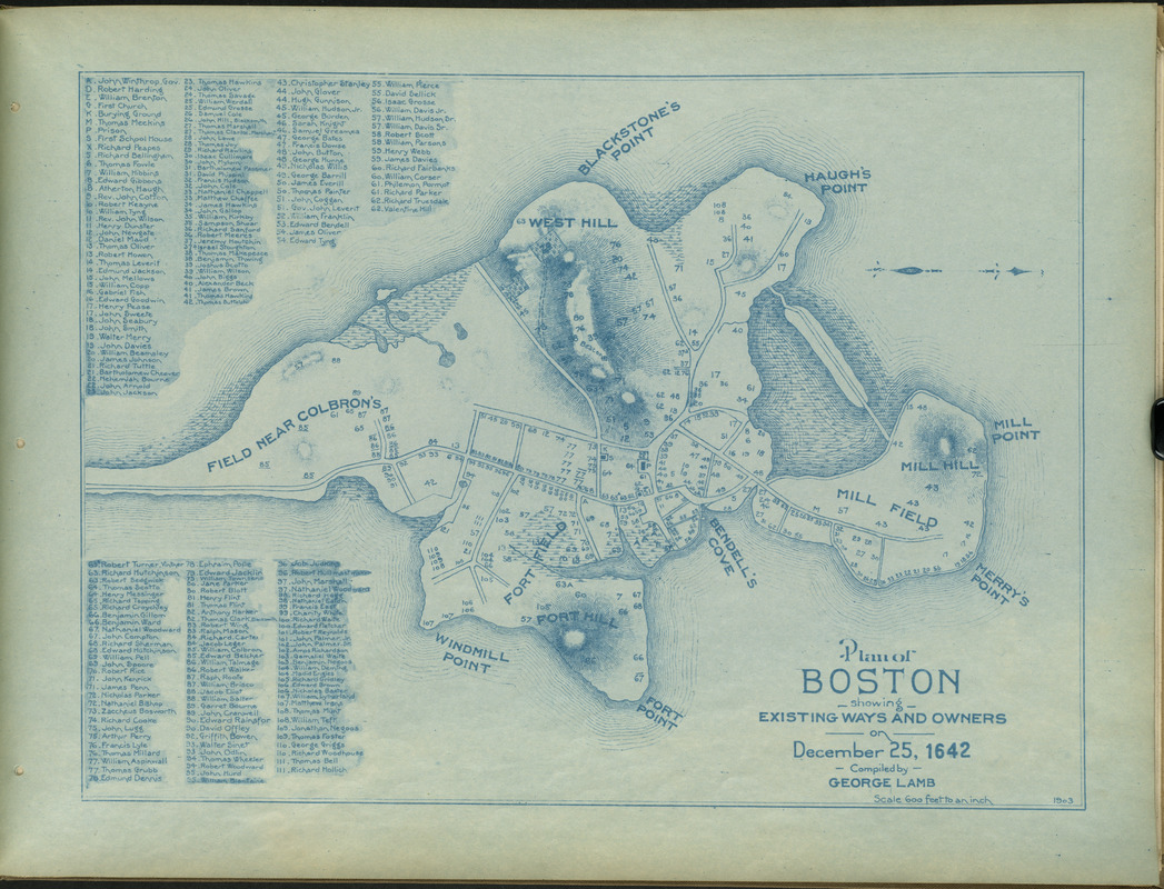 Plan of Boston showing existing ways and owners on December 25, 1642