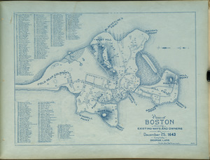 Plan of Boston showing existing ways and owners on December 25, 1643